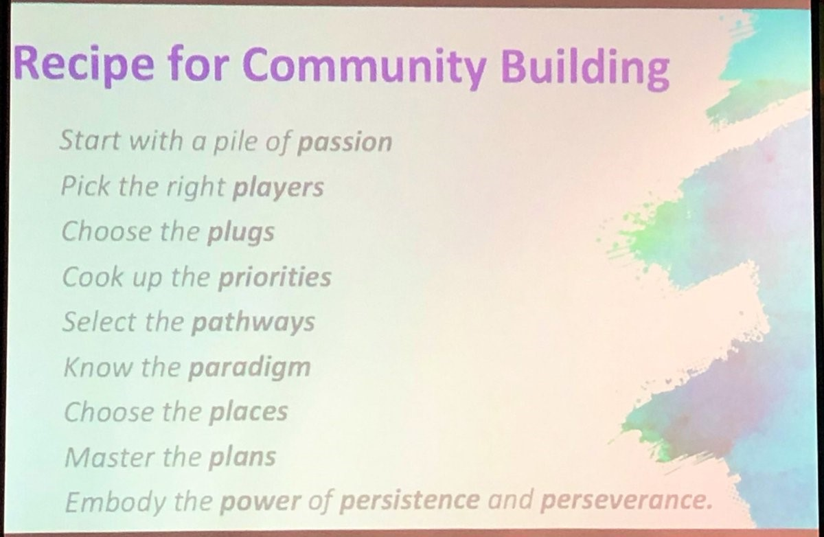 Recipe for community building. Start with a pile of passion. Pick the right players. choose the plugs. Cook up the priorities. Select the Pasthways. Know the paradigm. Choose the places. Master the plans. Embody the power of persistence and perseverance.