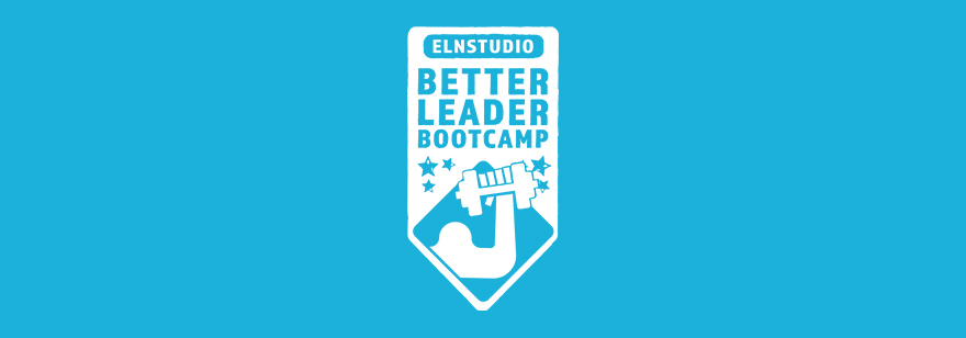 Blue background with badge logo that reads, 'ELNstudio: Better Leader Bootcamp'