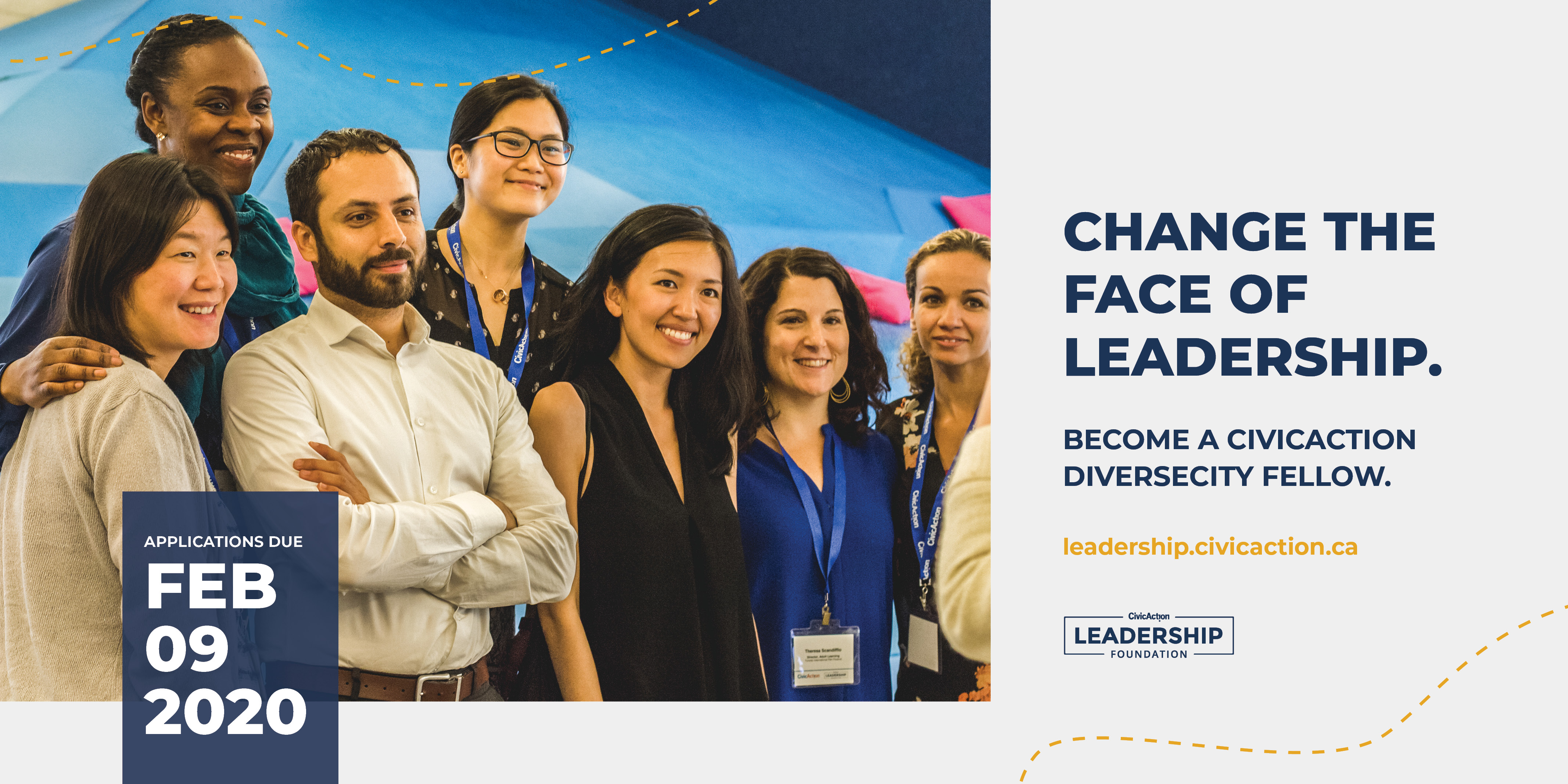 "Diverse group of people posing for a photo with text that reads, ""Change the face of leadership. Become a CivicAction DiverseCity fellow."""