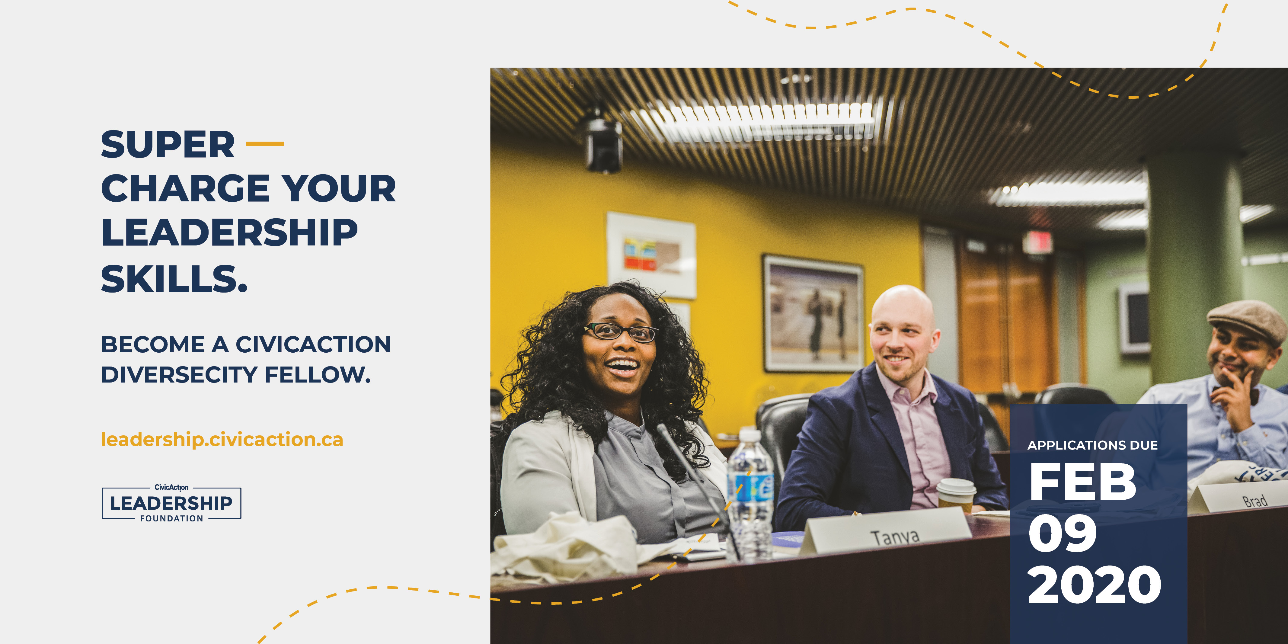 "3 People sitting at a table laughing with text that reads, ""Supercharge your leadership skills. Become a CivicAction DiverseCity fellow."""