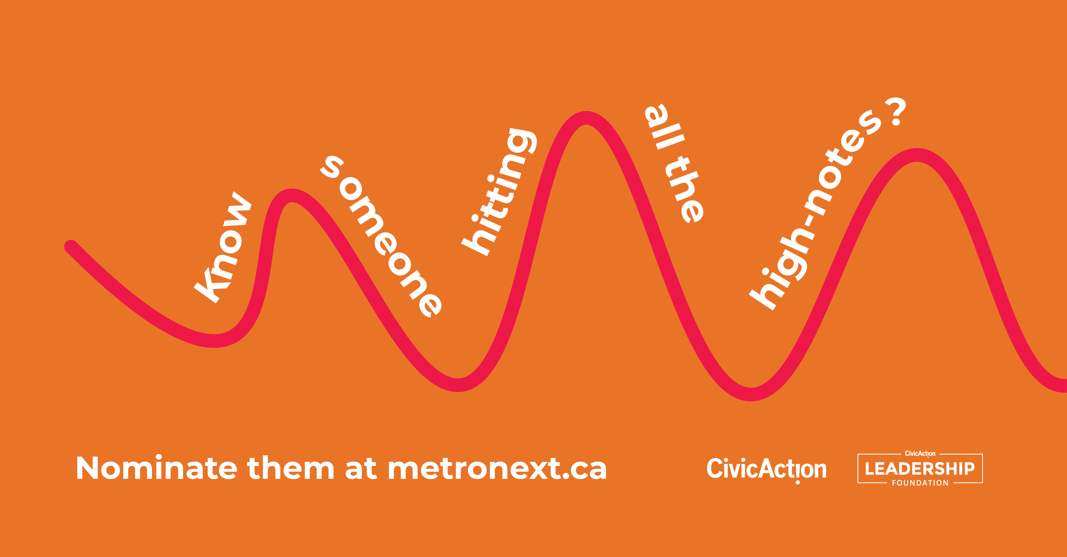 "Orange background with a pink sound wave across the screen with text that reads, ""Know someone hitting all the high-notes? Nominate them at metronext.ca."" With the CivicAction logo at the bottom right."