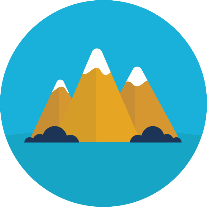 Illustration of three mountain peaks sits on a blue circle background.
