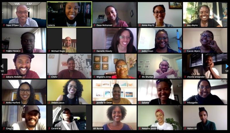 Zoom call screen from the ELN Real Talk with Black Leaders event.
