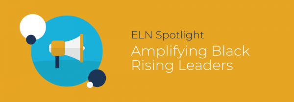 Yellow background with an illustration of mountains and title that reads: ELN Spotlight on Black Rising Leaders
